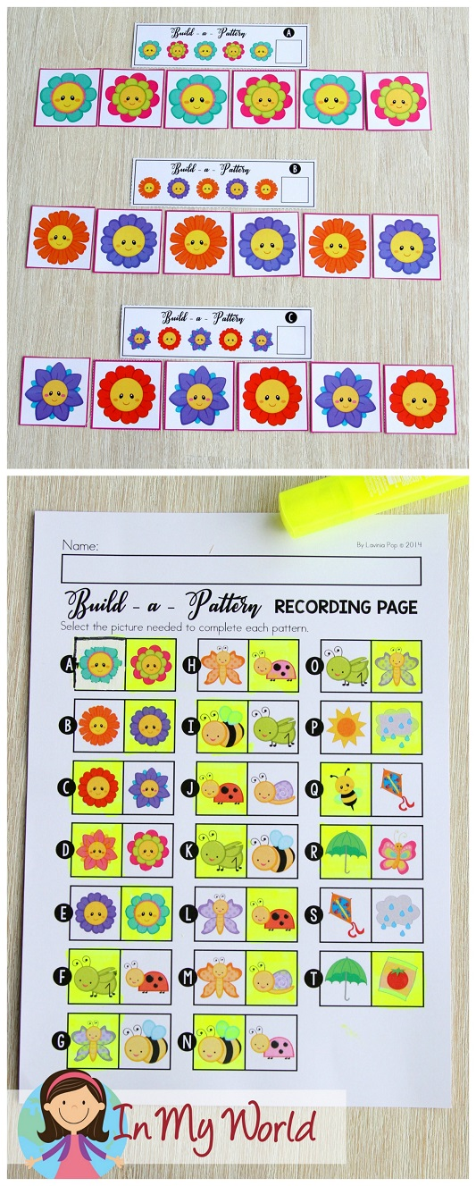 FREE Spring Math Centers for Kindergarten. Patterns.