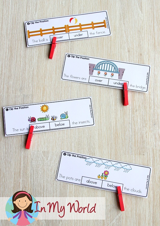 Spring Math Centers for Kindergarten. Positional words activity.