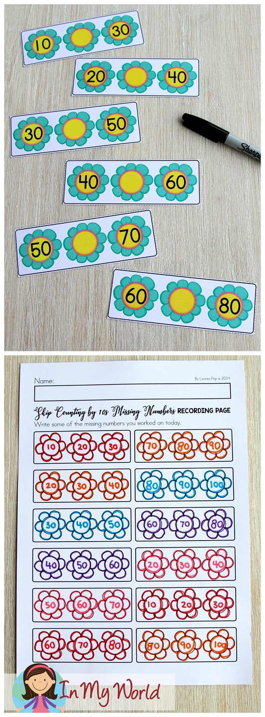 FREE Spring Math Centers for Kindergarten. Skip counting by 10.
