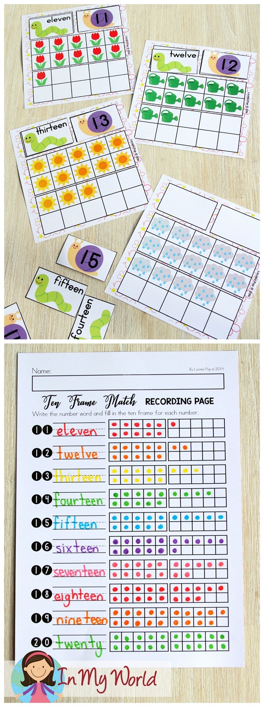 FREE Spring Math Centers for Kindergarten. Ten frame number and number word match.