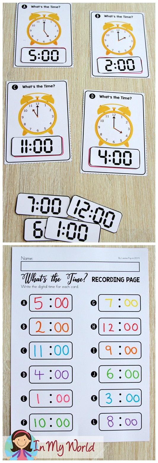 FREE Spring Math Centers for Kindergarten. Telling time to the hour.