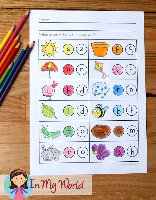 Spring Worksheets and Activities for Kindergarten. Beginning sounds activity.