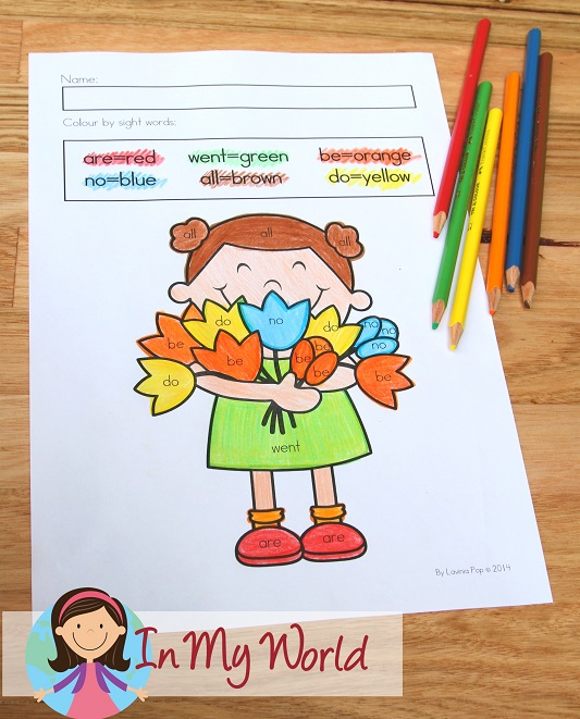 Spring Worksheets and Activities for Kindergarten. Color by sight word.