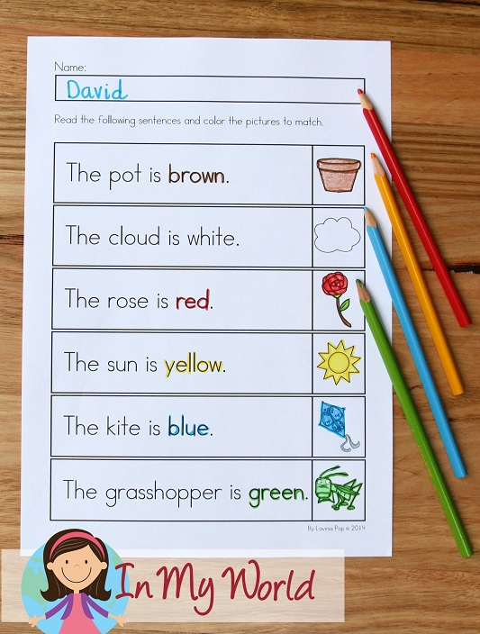 Spring Worksheets and Activities for Kindergarten. Color the picture accordingly.