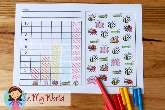 Spring Worksheets and Activities for Kindergarten. Count and graph.