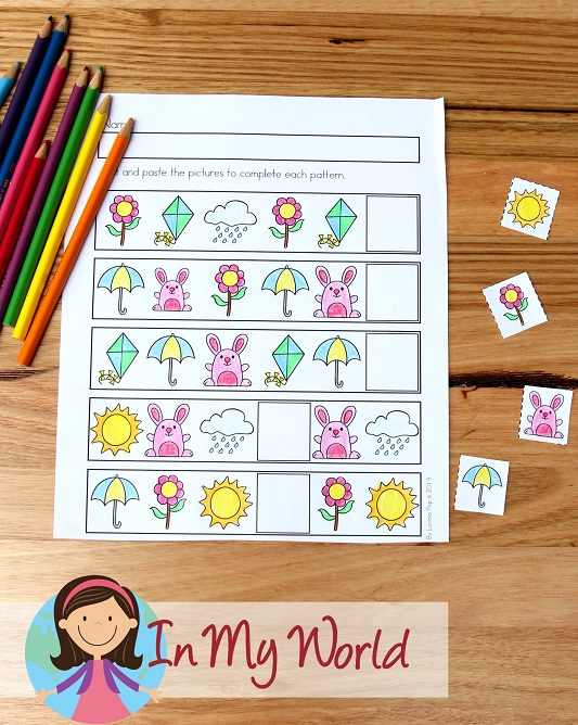 Spring Worksheets and Activities for Kindergarten. Patterns cut and paste.
