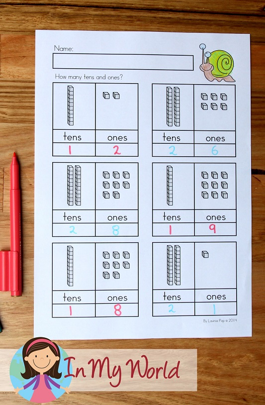 Spring Worksheets and Activities for Kindergarten. Tens and ones worksheet.