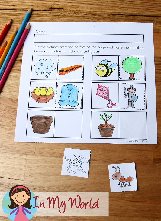 Spring Worksheets and Activities for Kindergarten. Cut and paste rhyming activity.