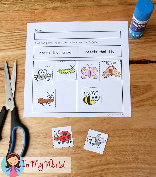 Spring Worksheets and Activities for Kindergarten. Sorting - insects that crawl/fly.