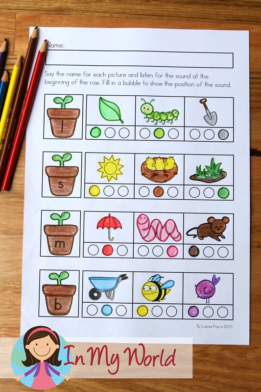 Spring Worksheets and Activities for Kindergarten. Sound positions.