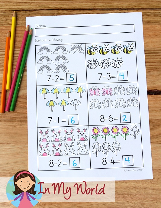 Spring Worksheets and Activities for Kindergarten. Subtraction with pictures.