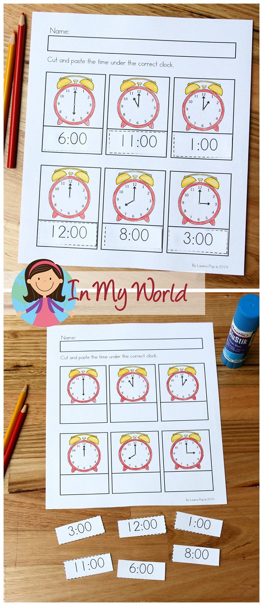 Spring Worksheets and Activities for Kindergarten. Time worksheets - o'clock.