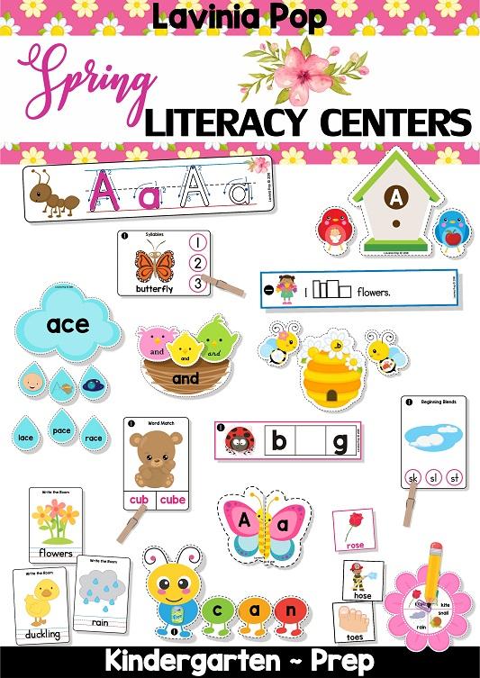 FREE Spring Literacy Centers Kindergarten