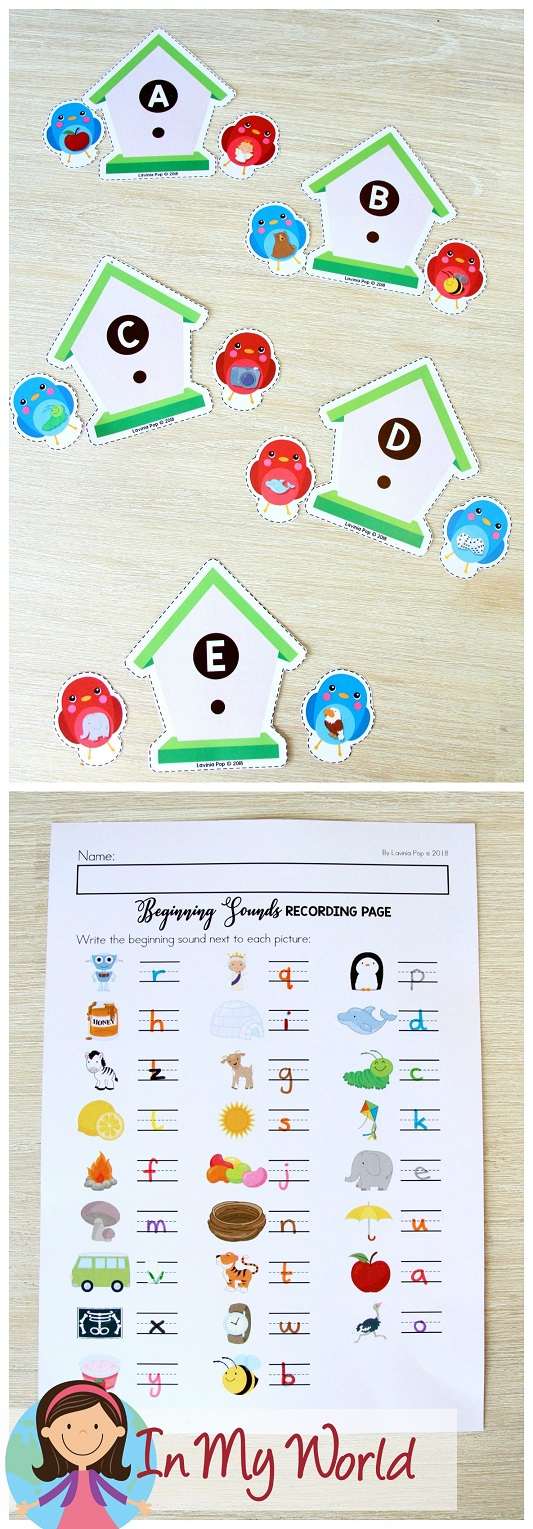 FREE Spring Literacy Centers Kindergarten: beginning sounds.