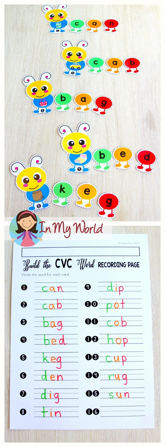 FREE Spring Literacy Centers Kindergarten: build the CVC word.