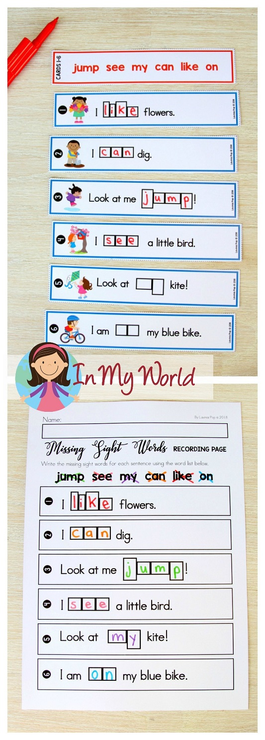 FREE Spring Literacy Centers Kindergarten: write the missing sight word.
