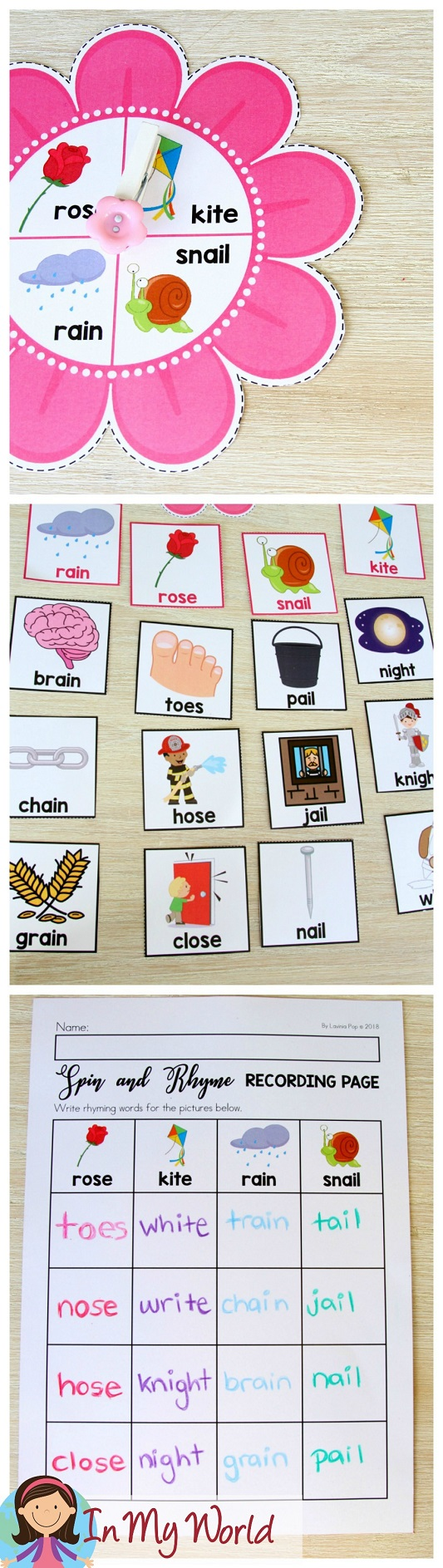 FREE Spring Literacy Centers Kindergarten: rhyming activity.