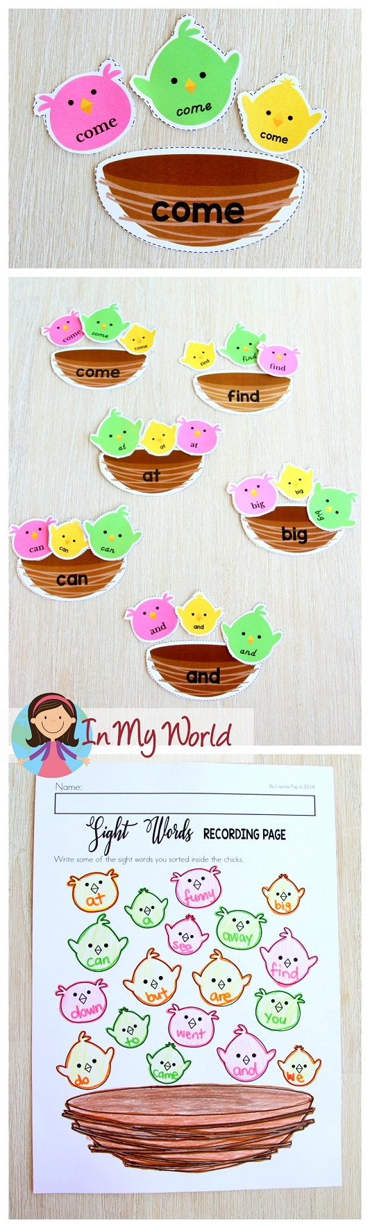 FREE Spring Literacy Centers Kindergarten: sight word sorting activity.