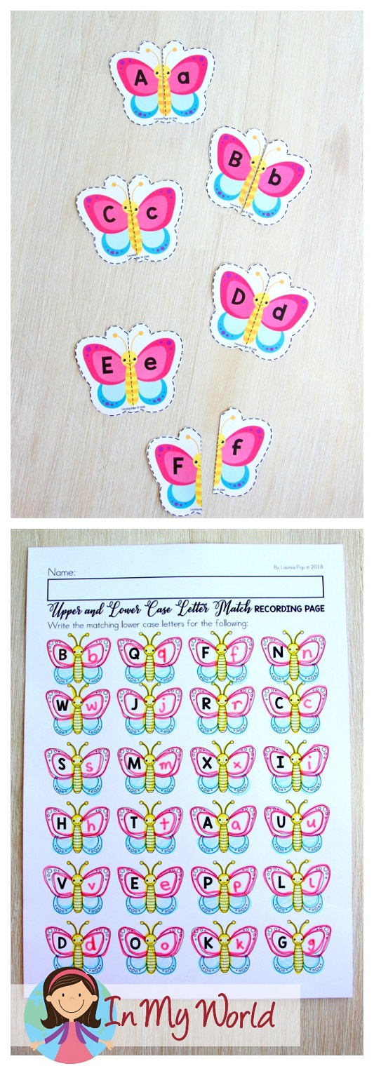 FREE Spring Literacy Centers Kindergarten: upper and lower case letter match.
