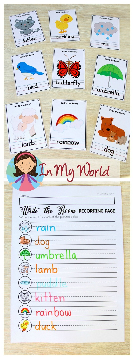 FREE Spring Literacy Centers Kindergarten: write the room activity.
