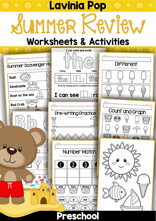 Preschool Summer Review Worksheets and Activities