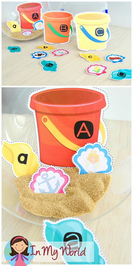 FREE Preschool Summer Centers. Upper-lower case letter match and beginning sounds bucket and shell activity.