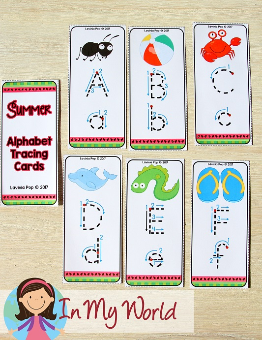 FREE Preschool Summer Centers. Alphabet tracing cards for use with an erasable marker.