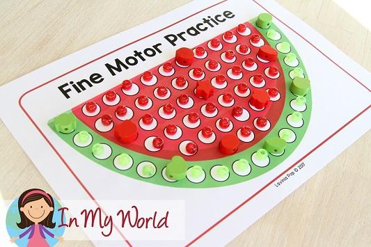 FREE Preschool Summer Centers. Watermelon fine motor practice mat.