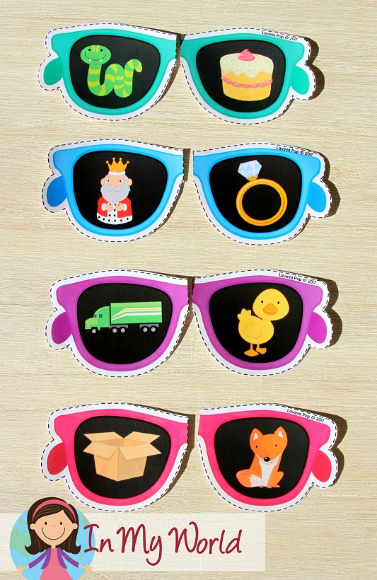 FREE Preschool Summer Centers. Sunglasses rhyming activity.