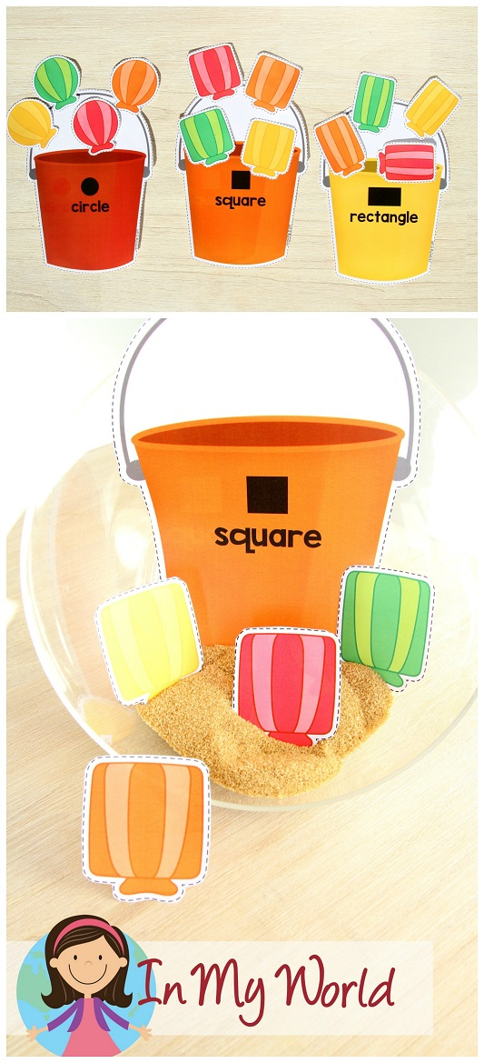 FREE Preschool Summer Centers. Bucket and shell shape sorting activity.