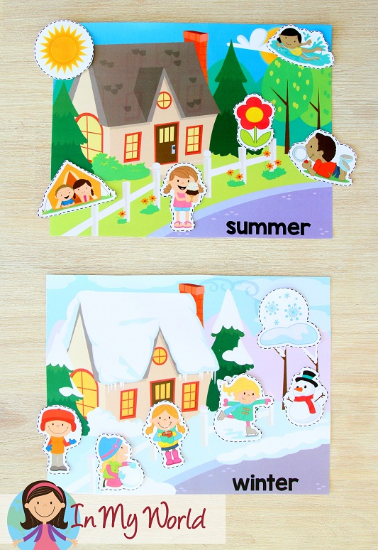 FREE Preschool Summer Centers. Summer and winter picture sorting activity.
