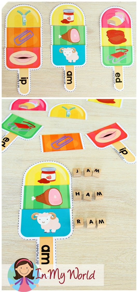 FREE Preschool Summer Centers. Popsicle CVC word family activity.