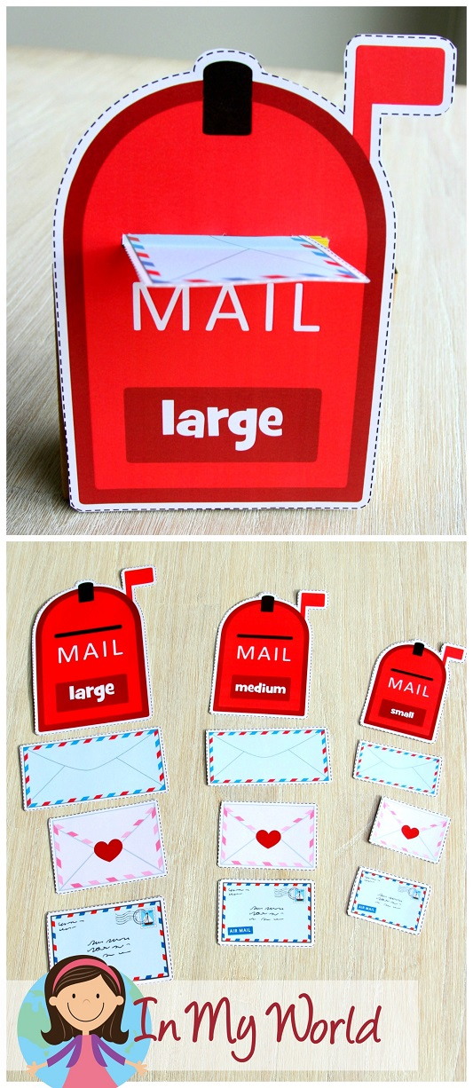 Community Helpers Preschool Centers. Sort the mail by size to the correct mailbox.