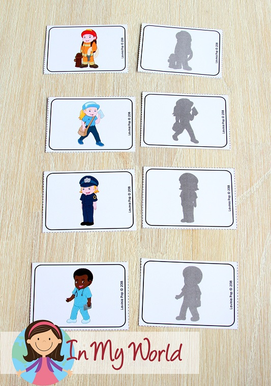 Community Helpers Preschool Centers. FREE Community Helper and shadow matching cards.