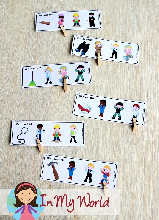 Community Helpers Preschool Centers. FREE Who uses this? community helper cards
